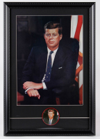 John F. Kennedy 16x23 Custom Framed Vintage 1960's Presidential Lithograph Display with Matching 1960's Kennedy Lapel Pin at PristineAuction.com