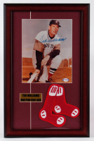 Ted Williams Signed Red Sox 19x24 Custom Framed Photo Display with Red Sox Patch (PSA LOA) at PristineAuction.com