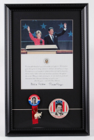 Ronald Reagan White House Thank You Letter 13x20 Custom Framed Display With Vintage Campaign Pin & Inauguration Pin at PristineAuction.com