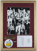 """Arnold Palmer """"The Masters"""" 15x21 Custom Framed Photo Display with Official Augusta National Score Card, Ball Marker & Masters Patch at PristineAuction.com"""
