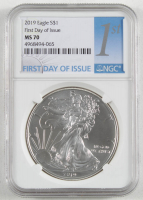 2019 American Silver Eagle $1 One Dollar Coin - First Day of Issue (NGC MS70) at PristineAuction.com