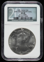 1991 American Silver Eagle $1 One Dollar Coin - 20th Anniversary, 4 of 2005 (NGC MS 68) at PristineAuction.com