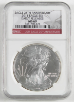 2011 American Silver Eagle $1 One Dollar Coin, Early Releases - 25th Anniversary (NGC MS69) at PristineAuction.com