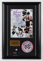 Walter Payton Signed Bears 14x20 Custom Framed Photo Display with Super Bowl XX Champions Pin & Patch (PSA LOA & Payton Hologram) at PristineAuction.com