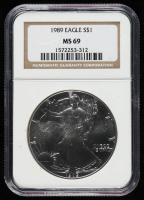 1989 American Silver Eagle $1 One Dollar Coin (NGC MS 69) at PristineAuction.com