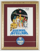 """Star Wars"" 13.5x18.5 Custom Framed Italy Movie Release Print Display with Original 1977 ""May the Force Be With You"" Lapel Pin at PristineAuction.com"