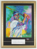 "LeRoy Neiman Signed 16x21 Custom Framed ""Jackie Robinson"" Vintage Lithograph Display (PSA COA) at PristineAuction.com"