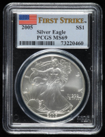 2005 American Silver Eagle $1 One Dollar Coin - First Strike (PCGS MS 69) at PristineAuction.com