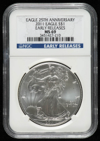 2011 American Silver Eagle $1 One Dollar Coin - 25th Anniversary, Early Releases (NGC MS 69) at PristineAuction.com