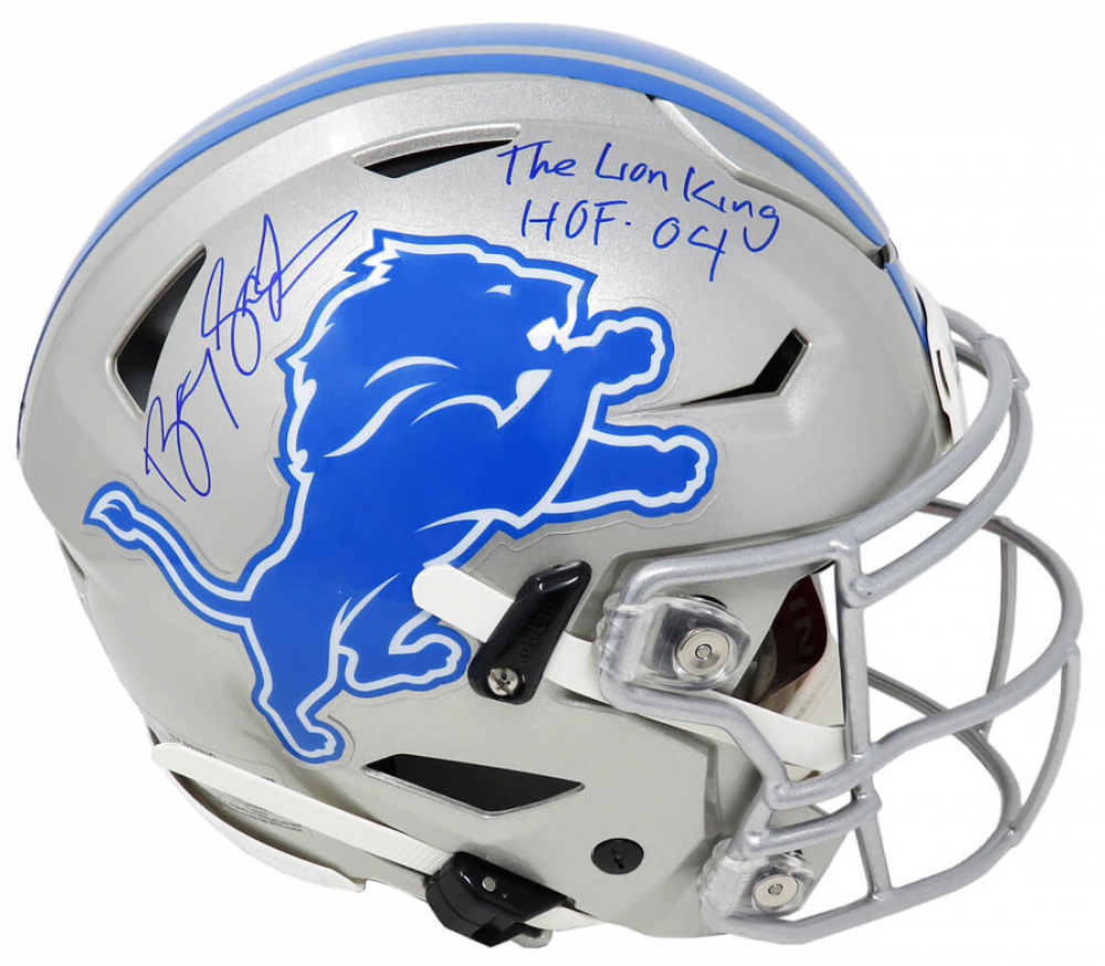 """Barry Sanders Signed Lions Full-Size Authentic On-Field SpeedFlex Helmet Inscribed """"The Lion King"""" & """"HOF '04"""" (Schwartz Sports COA) at PristineAuction.com"""