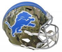 "Barry Sanders Signed Lions Full-Size Camo Alternate Speed Helmet Inscribed ""HOF '04"" & ""The Lion King"" (Schwartz Sports COA) at PristineAuction.com"