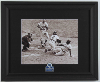 """Jackie Robinson Dodgers """"Stealing Home"""" 13.25x16.25 Custom Framed Photo Display with 1956 World Series Champions Lapel Pin at PristineAuction.com"""