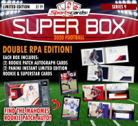 Sportscards.com SUPER BOX **RC PATCH AUTO EDITION** FOOTBALL MYSTERY BOX Series 9 at PristineAuction.com