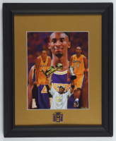 Kobe Bryant Lakers 13.25x16.25 Custom Framed Photo Display with Lakers Championship Lapel Pin at PristineAuction.com