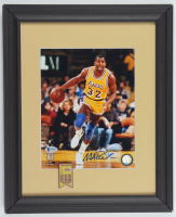 Magic Johnson Signed Lakers 13.25x16.25 Custom Framed Photo Display with Mini Metal Banner Pin (Beckett COA) at PristineAuction.com