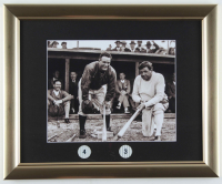 Babe Ruth & Lou Gehrig Yankees 13x16 Custom Framed Photo Display with (2) Jersey Retirement Pins at PristineAuction.com