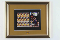 Kobe Bryant 13x16 Custom Framed Uncut Full Stamp Sheet Display with (12) Postage Stamps & Lakers Logo Pin at PristineAuction.com