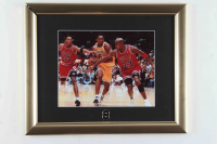 Kobe Bryant & Michael Jordan 13x16 Custom Framed Photo Display with Jersey #8 Pin at PristineAuction.com