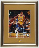 Magic Johnson Signed Lakers 13x16 Custom Framed Photo Display with Lakers Logo Pin (Beckett COA) at PristineAuction.com