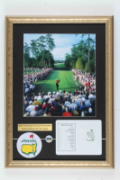 Tiger Woods Augusta National Golf Club 15x21 Custom Framed Photo Display with Masters Pin, Patch and Official Scorecard at PristineAuction.com