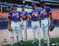 1986 Mets 16x20 Photo Signed by (4) with Ron Darling, Doc Gooden, Sid Fernandez & Bob Ojeda with (4) Record Inscriptions (JSA COA) at PristineAuction.com