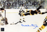 "Bobby Orr Signed Bruins ""The Flying Goal"" 7x11 Photo (Orr COA) at PristineAuction.com"