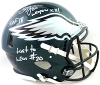 "Brian Dawkins Signed Eagles Full-Size Authentic On-Field Speed Helmet Inscribed ""HOF 18"", ""Weapon X!!"", & ""Last To Wear #20"" (JSA COA) at PristineAuction.com"