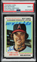 "Nolan Ryan Signed 1978 Topps #6 RB Inscribed ""100.7 M.P.H. Fastball"" (PSA Encapsulated) at PristineAuction.com"