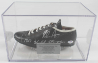 """Nolan Ryan Signed Vintage Leather Baseball Cleat Inscribed """"1969 World Champions"""" with Display Case (PSA COA) at PristineAuction.com"""