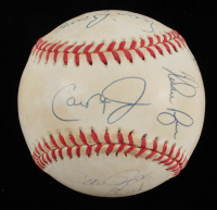 Hall of Famers LE OAL Baseball Signed by (10) with Hank Aaron, Stan Musial, Nolan Ryan, Cal Ripken Jr., Ernie Banks, Yogi Berra, Johnny Bench (PSA LOA) at PristineAuction.com