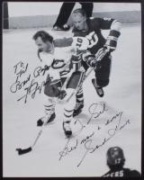 Gordie Howe & Guy Lafleur Signed 8x10 Photo Plaque (JSA ALOA) at PristineAuction.com