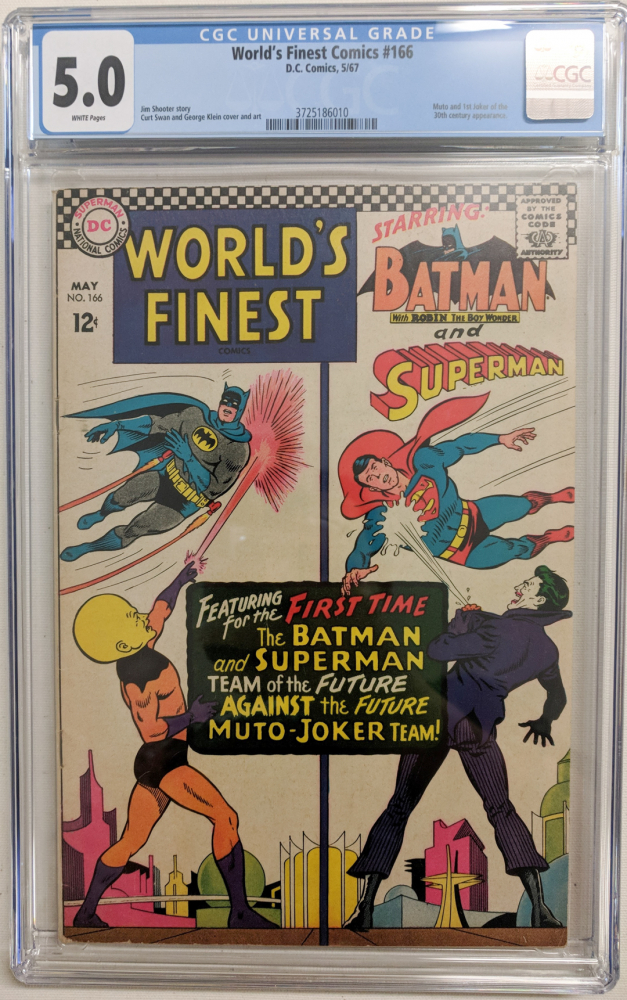 """1967 """"World's Finest"""" Issue #166 DC Comic Book (CGC 5.0) at PristineAuction.com"""
