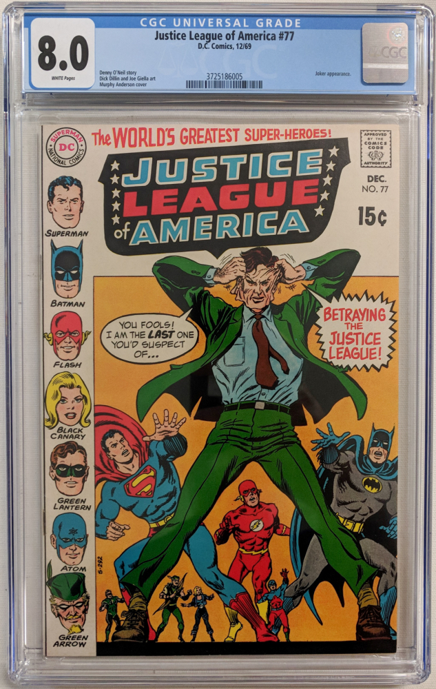 "1969 ""Justice League of America"" Issue #77 DC Comic Book (CGC 8.0) at PristineAuction.com"