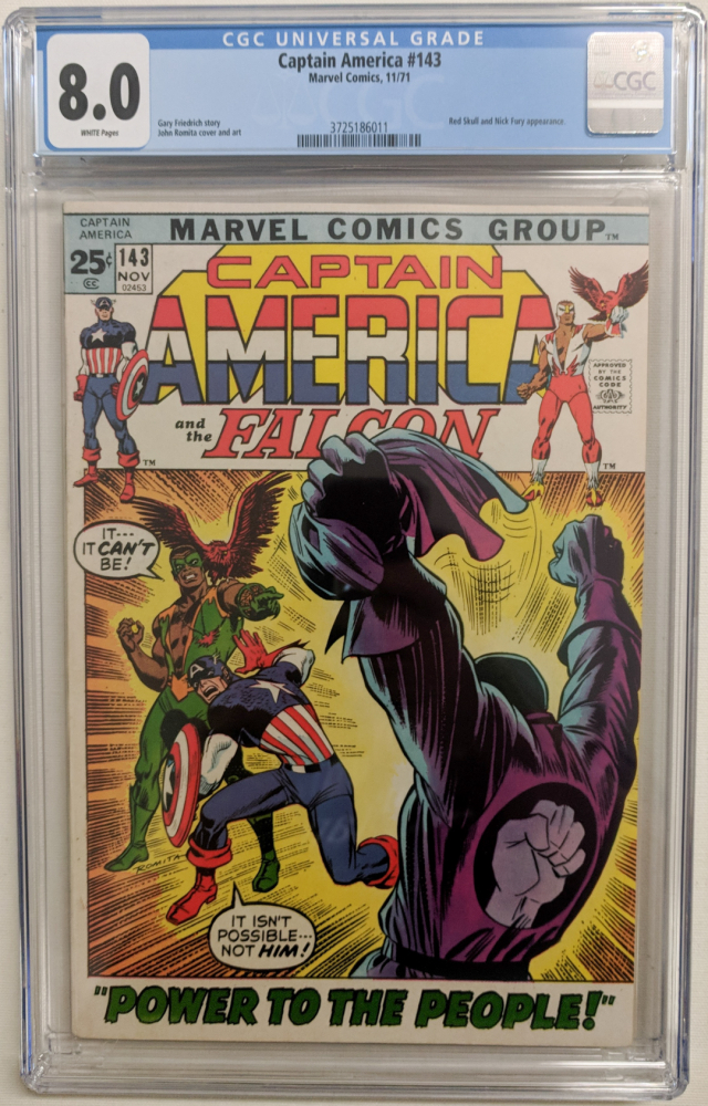 """1971 """"Captain America and the Falcon"""" Issue #143 Marvel Comic Book (CGC 8.0) at PristineAuction.com"""