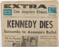 Vintage 1968 Robert Kennedy's Death The Los Angeles Times Newspaper at PristineAuction.com