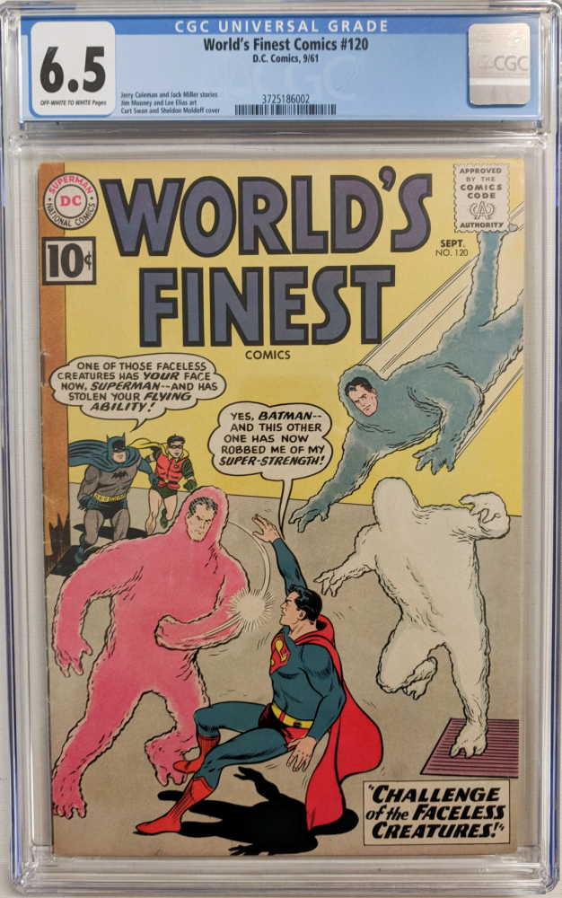 """1961 """"World's Finest"""" Issue #120 DC Comic Book (CGC 6.5) at PristineAuction.com"""