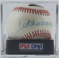 Ted Williams Signed OAL Baseball with Display Case (PSA Encapsulated) at PristineAuction.com