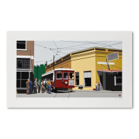 """Armond Fields Signed """"Fieldsville Trolley"""" Limited Edition 36x22 Hand Pulled Original Serigraph (PA LOA) at PristineAuction.com"""