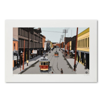"""Armond Fields Signed """"Main Street 1907"""" Limited Edition 34x23 Hand Pulled Original Serigraph at PristineAuction.com"""