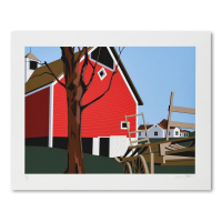 """Armond Fields Signed """"Red Barn"""" Limited Edition 33x26 Hand Pulled Original Serigraph at PristineAuction.com"""