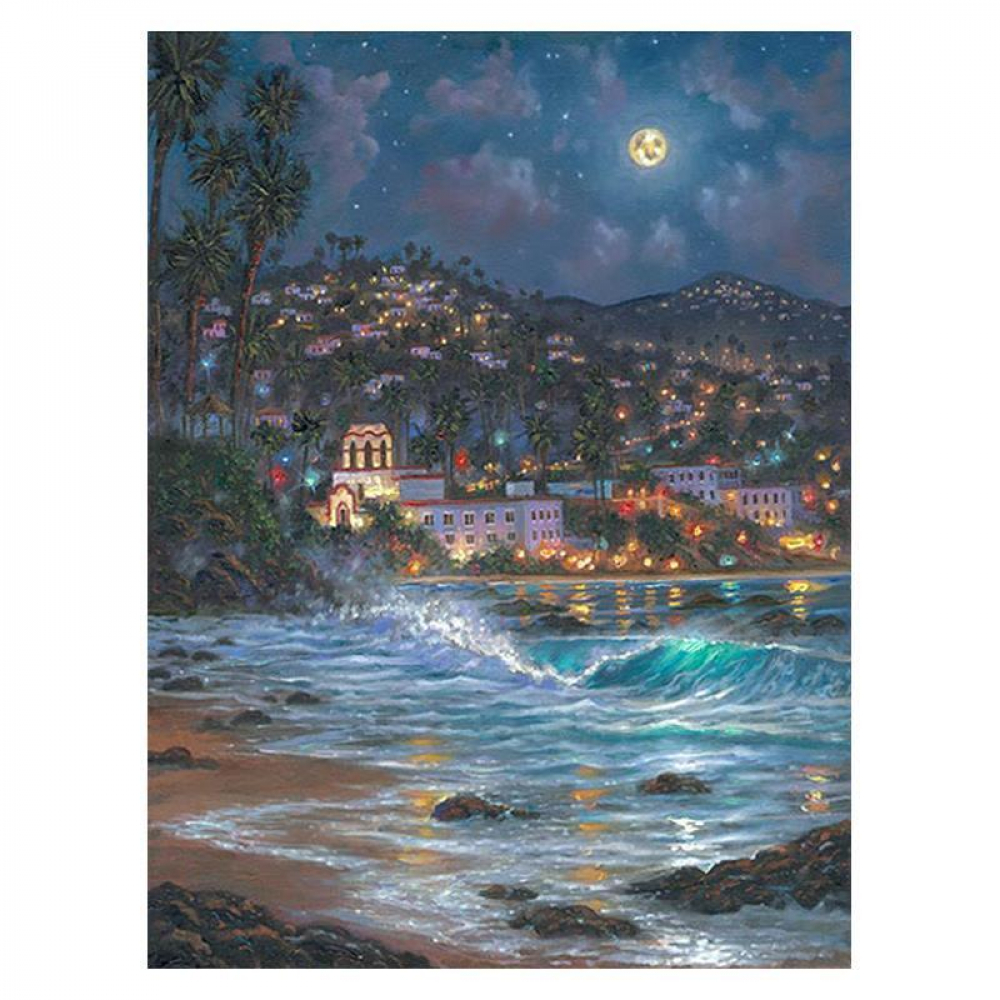 """Robert Finale Signed """"Starry Night Laguna"""" Artist Embellished Limited Edition 32x24 Giclee on Canvas at PristineAuction.com"""