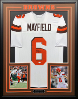 Baker Mayfield Signed 34.5x42.5 Custom Framed Jersey (Beckett COA) at PristineAuction.com