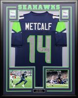 D.K. Metcalf Signed 34.5x42.5 Custom Framed Jersey (Beckett COA) at PristineAuction.com
