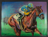 American Pharaoh LE 33x44 Bill Lopa Hand-Embelished Giclee on Canvas at PristineAuction.com