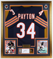 Walter Payton Signed Bears 33x36 Custom Framed Index Card Display with Jersey & Super Bowl XX Champions Lapel Pin (PSA Encapsulated) at PristineAuction.com