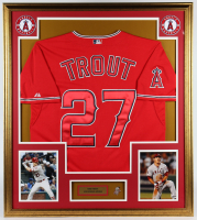 Mike Trout Angels 32x37 Custom Framed Jersey Display with Official Mike Trout Lapel Pin at PristineAuction.com