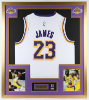 LeBron James 32x36 Custom Framed Jersey Display with 2020 NBA World Champions Pin at PristineAuction.com