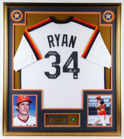 Nolan Ryan Signed 33x37 Custom Framed Jersey Display including Multiple Career Stat Inscriptions with 1999 Hall of Fame Induction Lapel Pin (PSA COA) at PristineAuction.com