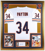 Walter Payton Signed Bears 33x36 Custom Framed Index Card Display with Jersey & with Super Bowl XX Pin Set (PSA Encapsulated) at PristineAuction.com