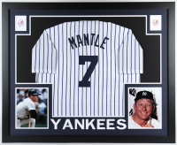 Mickey Mantle 35.25x43.5 Custom Framed Jersey Display at PristineAuction.com